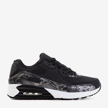 Czarne damskie sportowe buty z szarymi wstawkami a'la skóra węża Silada - Obuwie