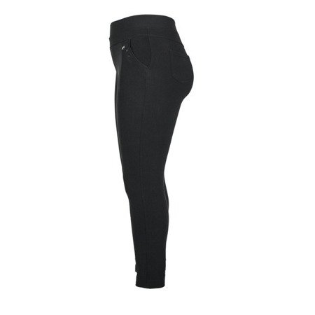Czarne damskie tkaninowe spodnie - Spodnie
