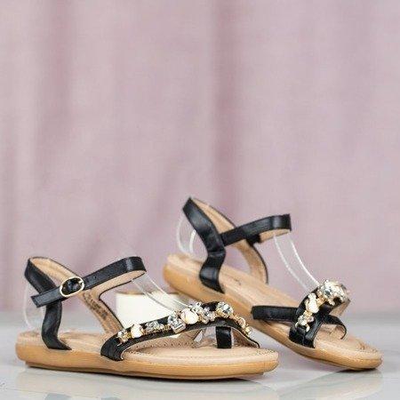 Czarne eko-skórzane sandały z ozdobami Dill - Obuwie
