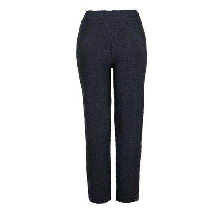 Czarne eleganckie spodnie z cyrkoniami - Spodnie