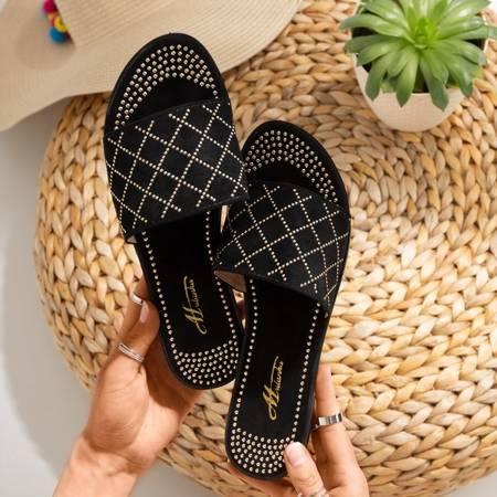 Czarne klapki ze złotymi dżetami Billi - Obuwie