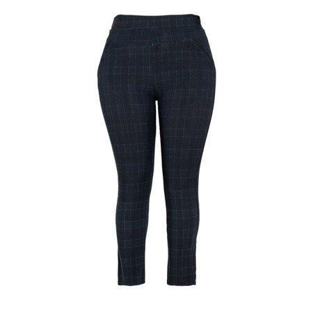 Czarne legginsy plus size w granatową kratkę - Spodnie