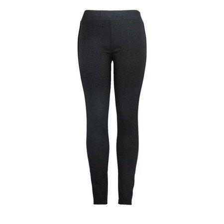 Czarne legginsy w kolorowe paski - Spodnie
