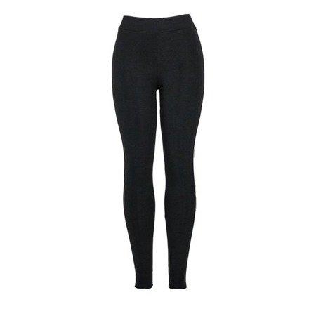 Czarne legginsy z lamówką - Spodnie