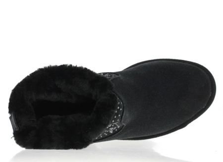 Czarne ocieplane śniegowce na koturnie Malija - Obuwie
