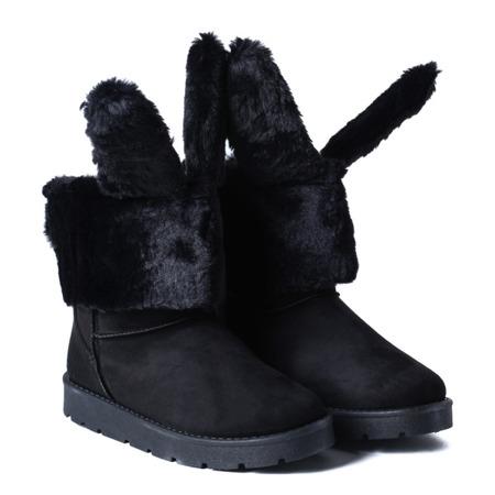 Czarne ocieplane śniegowce z uszami królika - Obuwie