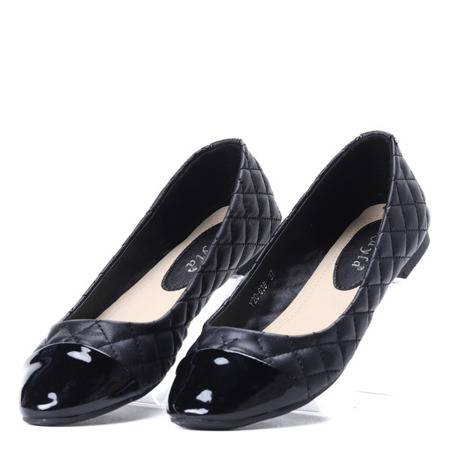 Czarne, pikowane baleriny Viva - Obuwie