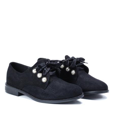 Czarne półbuty z perełkami Lea - Obuwie