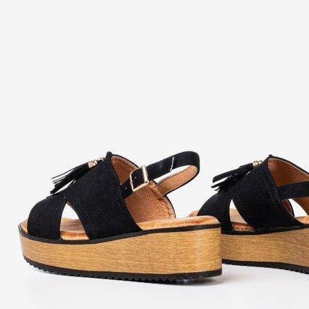 Czarne sandały damskie na platformie z frędzlami Indinara - Obuwie