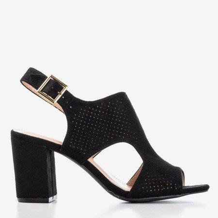 Czarne sandały damskie na wyższym słupku z cholewką Itemsa - Obuwie