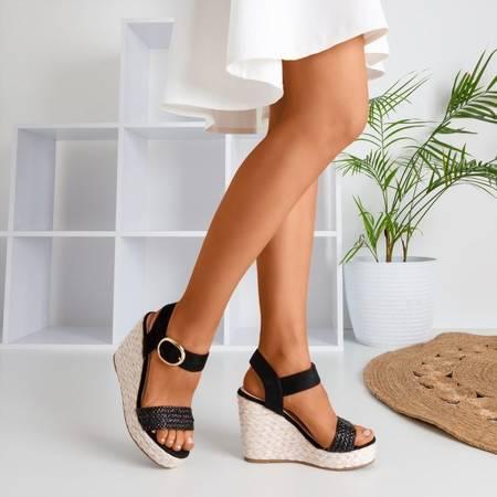 Czarne sandały na koturnie Baska - Obuwie