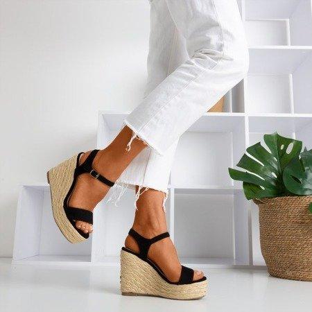 Czarne sandały na koturnie Idessa - Obuwie
