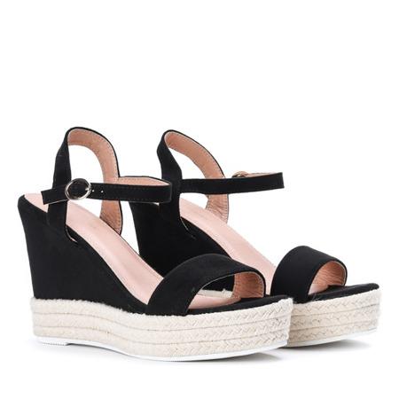 Czarne sandały na koturnie Jokin- Obuwie