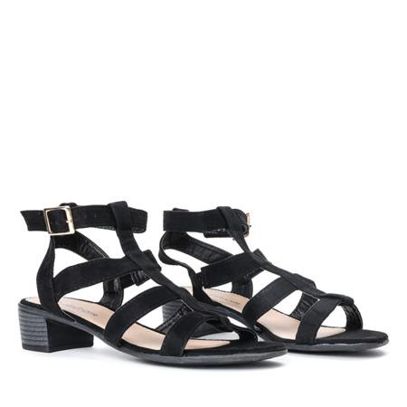 Czarne sandały na niskim słupku Armye - Obuwie