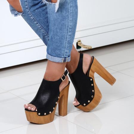 Czarne sandały na słupku Sottey - Obuwie