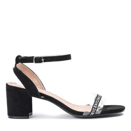 Czarne sandały na słupku z przezroczystą wstawką Angelita - Obuwie