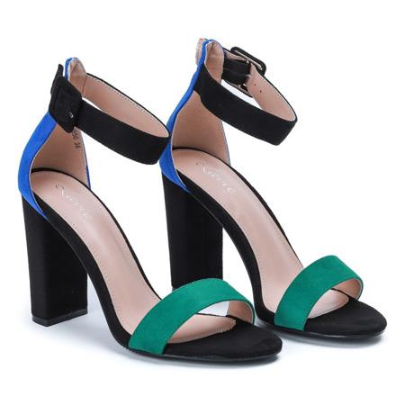 Czarne sandały na słupku z zielonym paseczkiem i niebieskim zapiętkiem Denice - Obuwie