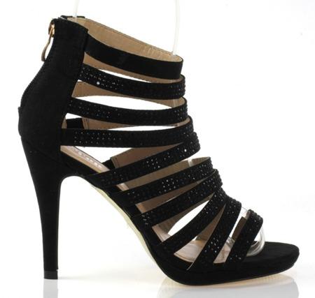 Czarne sandały na szpilce - Obuwie