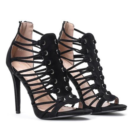 Czarne sandały na szpilce Parecia - Obuwie