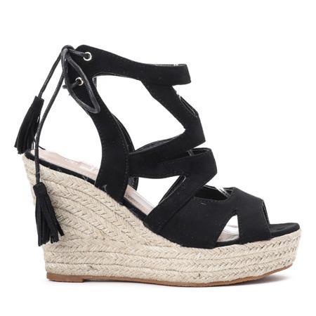 Czarne sandały na wysokiej koturnie Milton - Obuwie