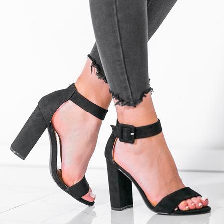 Czarne sandały na wysokim słupku Rosalina - Obuwie
