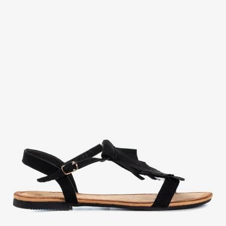 Czarne sandały z frędzlami Milirita - Obuwie