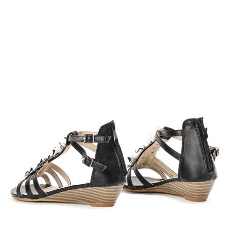 Czarne sandały z motylkami Samira- Obuwie
