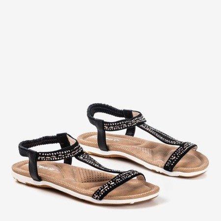 Czarne sandały zdobione cyrkoniami Sesilia - Obuwie