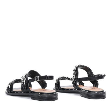 Czarne sandały ze srebrnymi łańcuszkami Manuelita - Obuwie