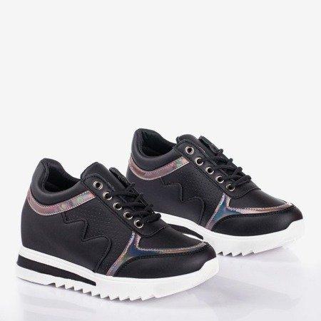Czarne sneakersy damskie na krytej koturnie Wink Wink - Obuwie