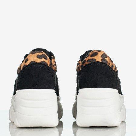 Czarne sneakersy damskie w panterkę Daddy Groove - Obuwie