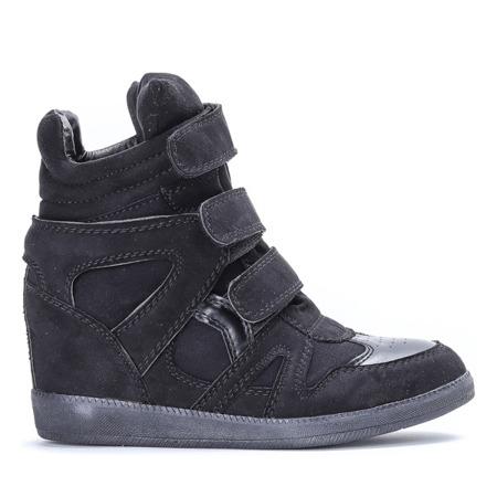 Czarne sneakersy- kryty koturn - Obuwie