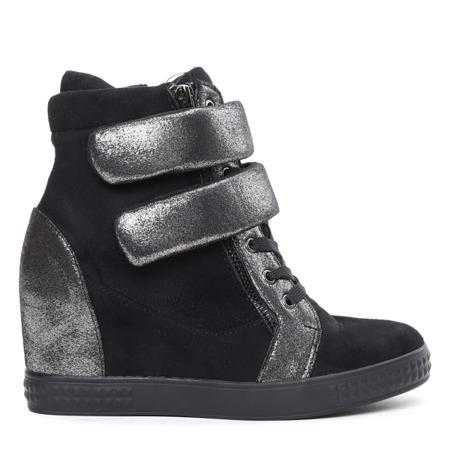 Czarne sneakersy na koturnie Mea - Obuwie