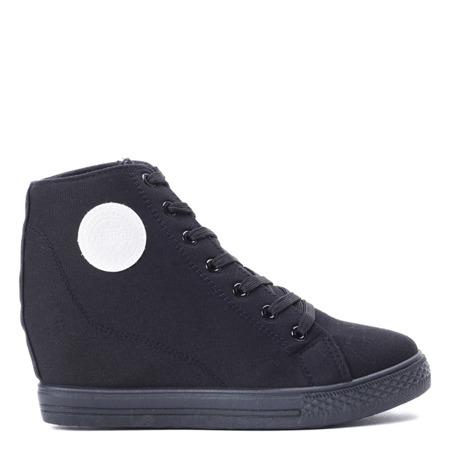 Czarne, sneakersy na koturnie - Obuwie