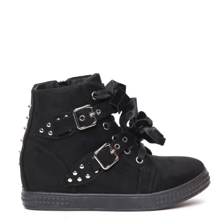 Czarne sneakersy na koturnie z ćwiekami Savannah - Obuwie