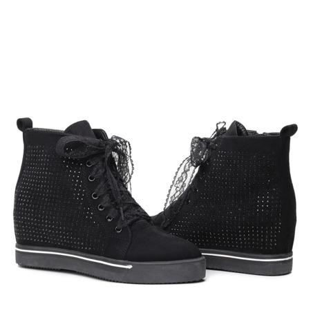 Czarne sneakersy na krytym koturnie Ariah- Obuwie