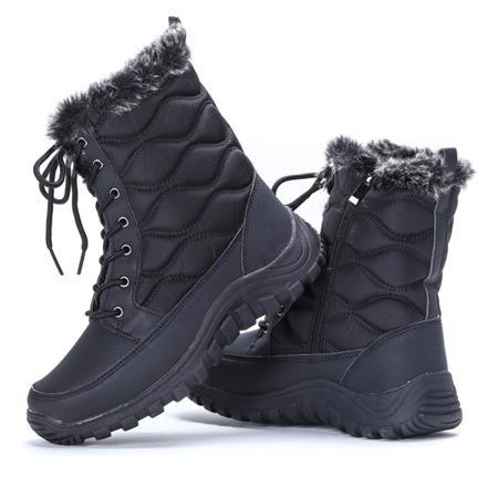 Czarne śniegowce z futerkiem- Obuwie