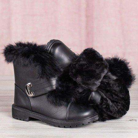 Czarne śniegowce z futerkiem Wisconsin - Obuwie