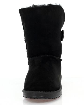 Czarne śniegowce z guzikiem - Obuwie