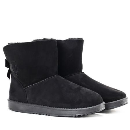 Czarne śniegowce z kokardką - Obuwie