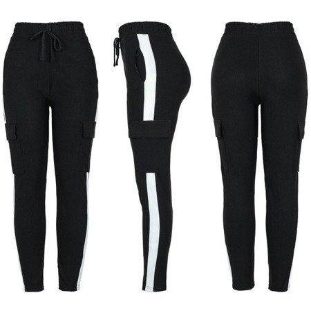 Czarne spodnie dresowe z lampasami - Spodnie