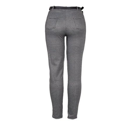 Czarne spodnie w białą pepitkę PLUS SIZE - Spodnie