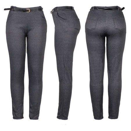 Czarne spodnie w szarą pepitkę PLUS SIZE - Spodnie