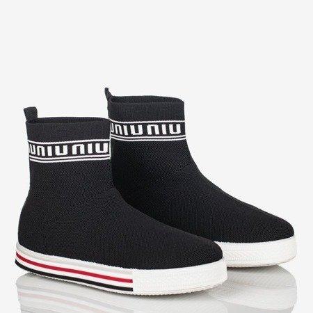 Czarne sportowe buty damskie z ozdobną skarpetką California Love - Obuwie