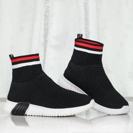 Czarne sportowe buty z ozdobną skarpetką Sallitsa - Obuwie