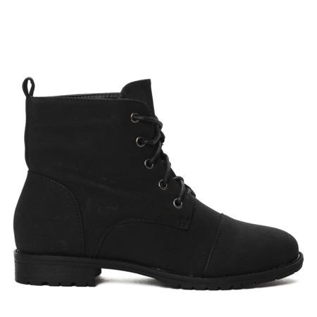 Czarne,sznurowane botki - Obuwie