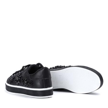 Czarne, sznurowane tenisówki z ozdobnymi kryształkami Florentine - Obuwie
