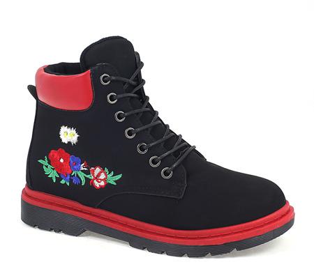 Czarne, sznurowane trapery z kwiatami - Obuwie