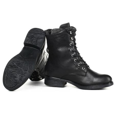 Czarne, sznurowane workery  - Obuwie