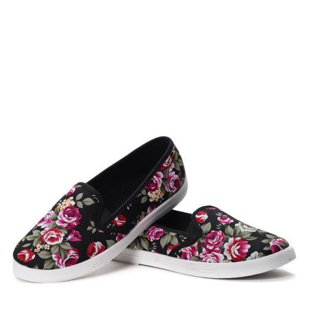 Czarne tenisówki typu slip on w kwiaty - Obuwie